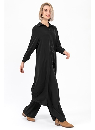 Tiffany&Tomato Uzun Kollu Yanları Uzun Gömlek-Tarçın Siyah